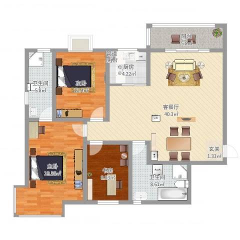 金城花园3室2厅2卫1厨132.00㎡户型图