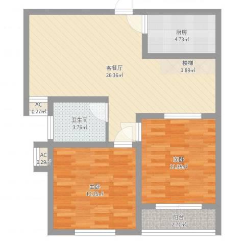 鑫达小区2室2厅1卫1厨77.00㎡户型图