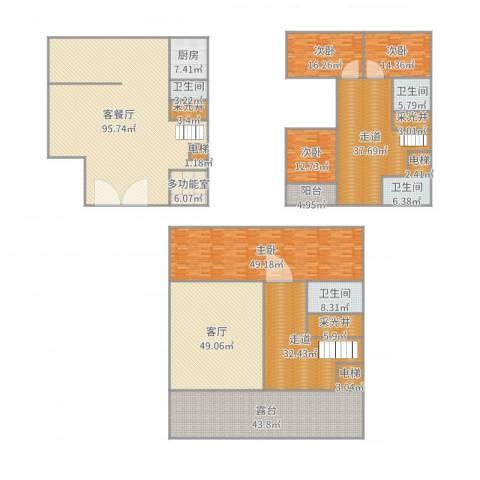 滨海御庭4室3厅4卫1厨544.00㎡户型图