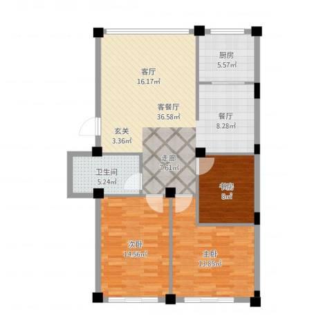 依海嘉园3室2厅1卫1厨116.00㎡户型图
