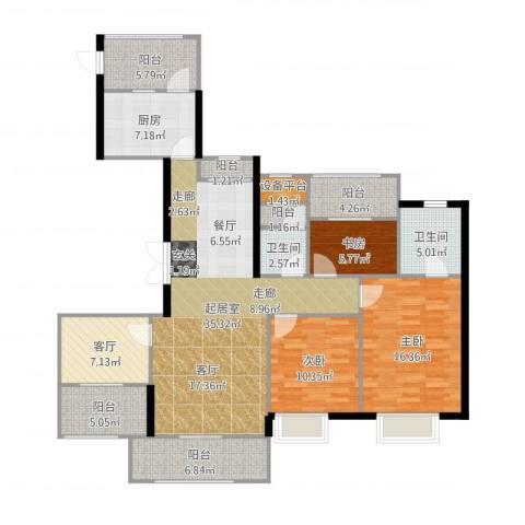 苏州世茂石湖湾3室1厅2卫1厨144.00㎡户型图