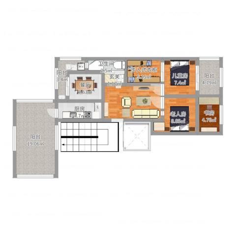 保利茉莉公馆别墅3室1厅1卫1厨79.16㎡户型图