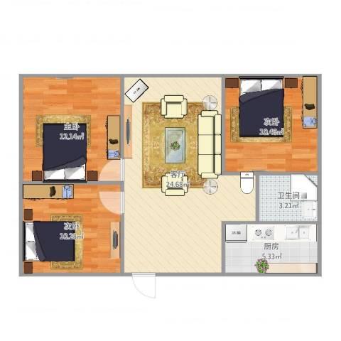 新悦花园3室1厅1卫1厨83.00㎡户型图