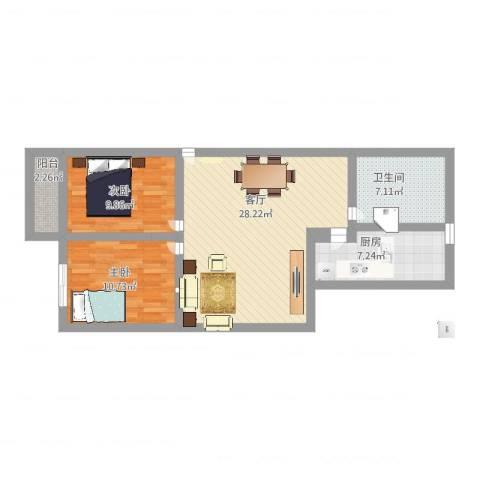 岭兜小区2室1厅1卫1厨97.00㎡户型图