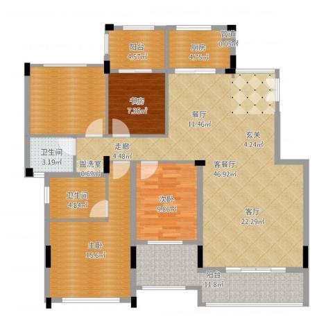 金地三千府3室2厅4卫1厨150.00㎡户型图