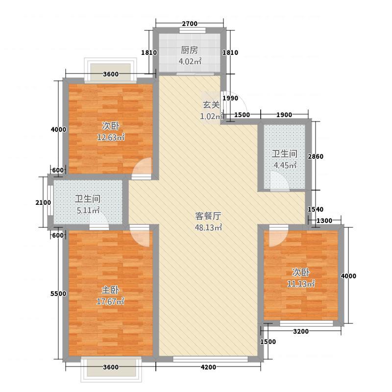 塞纳名邸322151.44㎡D户型3室2厅2卫1厨