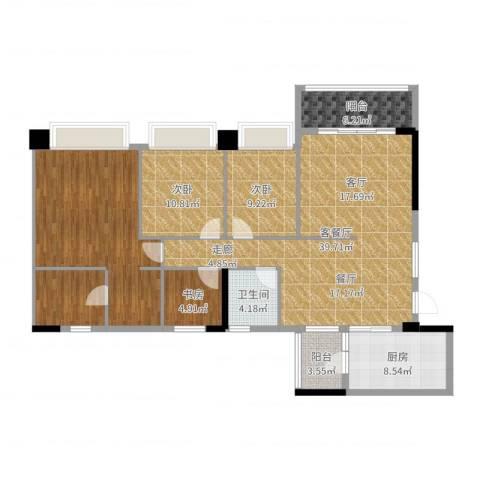 广州雅居乐花园时光九篇3室2厅1卫1厨146.00㎡户型图