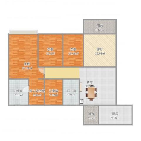 广州雅居乐花园时光九篇4室2厅2卫1厨167.00㎡户型图