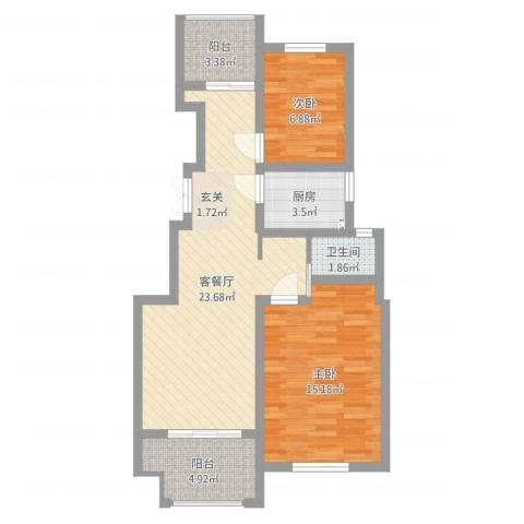 建联学府景园2室2厅1卫1厨74.00㎡户型图