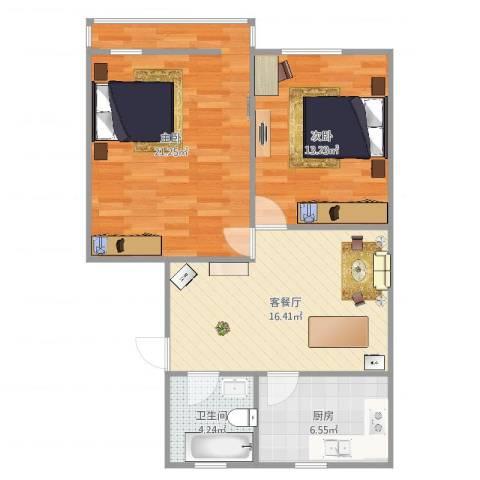 十五家园2室2厅1卫1厨77.00㎡户型图