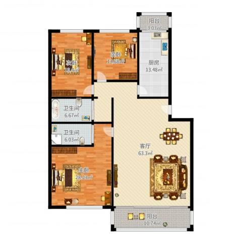天通苑本五区3室1厅2卫1厨206.00㎡户型图