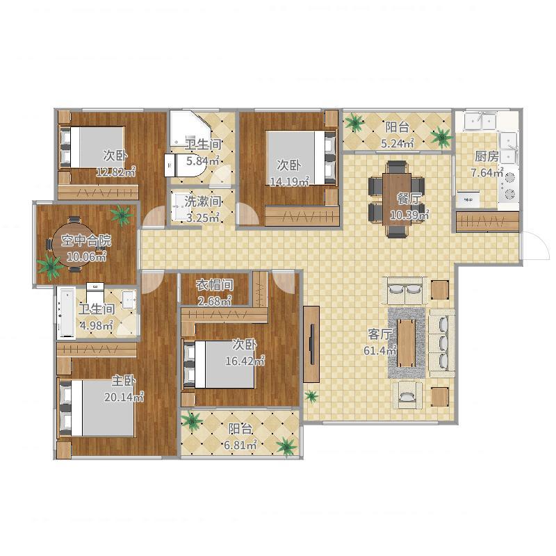 F户型4房2厅2卫+空中合院
