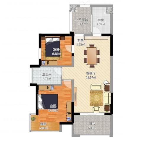 藏珑湖上国际社区2室2厅1卫1厨92.00㎡户型图