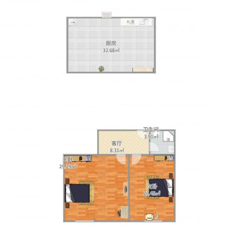 古华新村2室1厅1卫1厨125.00㎡户型图