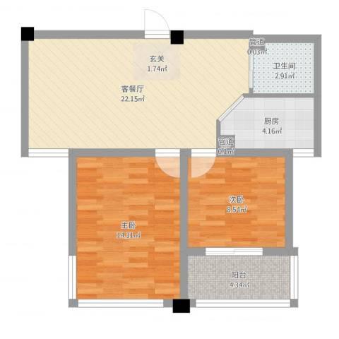 水岸人家2室2厅1卫1厨71.00㎡户型图