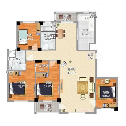 海创半山壹号4室2厅2卫1厨152.00㎡户型图