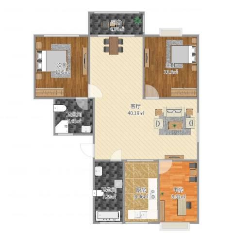 金和家园3室1厅2卫1厨128.00㎡户型图