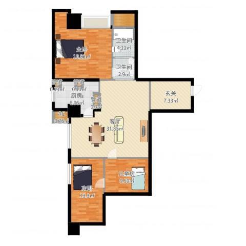 世家名门3室1厅2卫1厨98.93㎡户型图