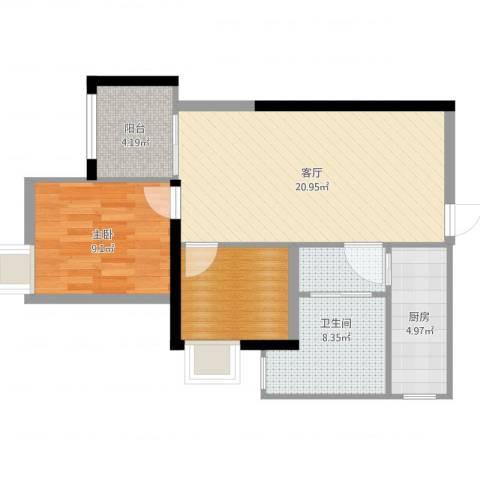 平安光谷春天1室1厅1卫1厨67.00㎡户型图