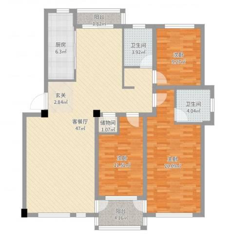 昌盛经典二期御花苑3室2厅2卫1厨137.00㎡户型图