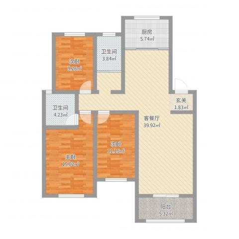 中鹤国际3室2厅2卫1厨118.00㎡户型图