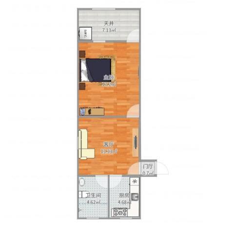 共康路400弄小区1室1厅1卫1厨60.00㎡户型图