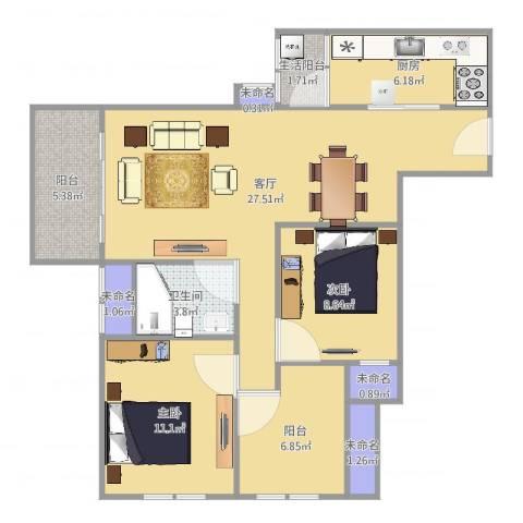 融创凡尔赛花园2室1厅1卫1厨93.00㎡户型图