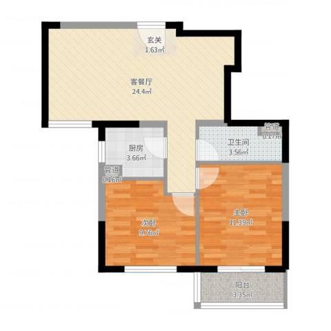 隆兴宜居2室2厅1卫1厨71.00㎡户型图
