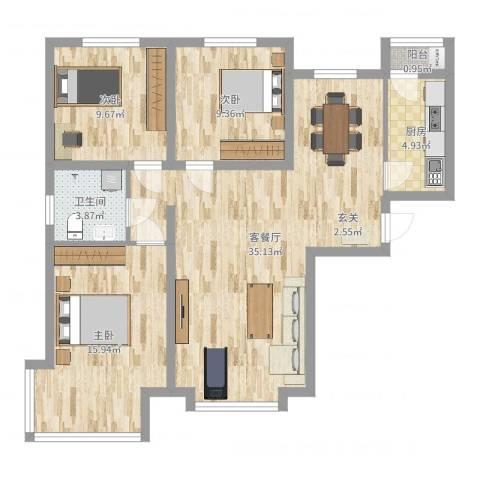 京润现代城3室2厅1卫1厨114.00㎡户型图