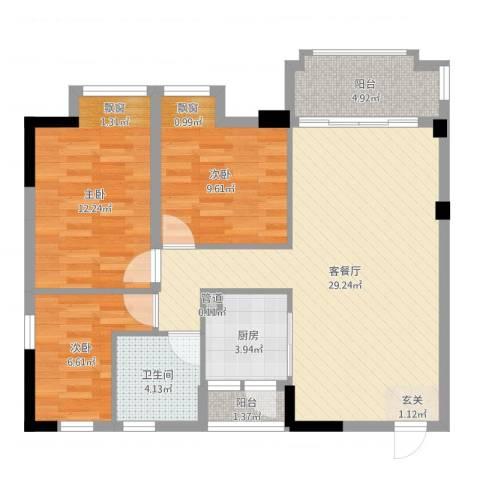 云浮碧桂园3室2厅1卫1厨90.00㎡户型图