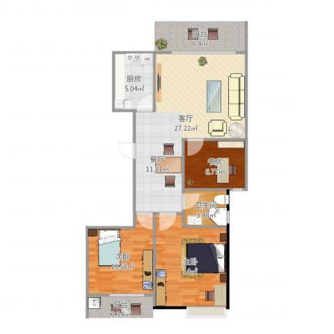 正和城3室1厅1卫1厨84.00㎡户型图