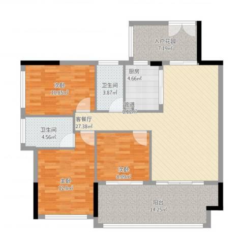 金沙美地3室2厅2卫1厨132.00㎡户型图