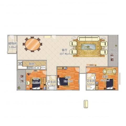 福隆国际3室1厅2卫1厨262.00㎡户型图