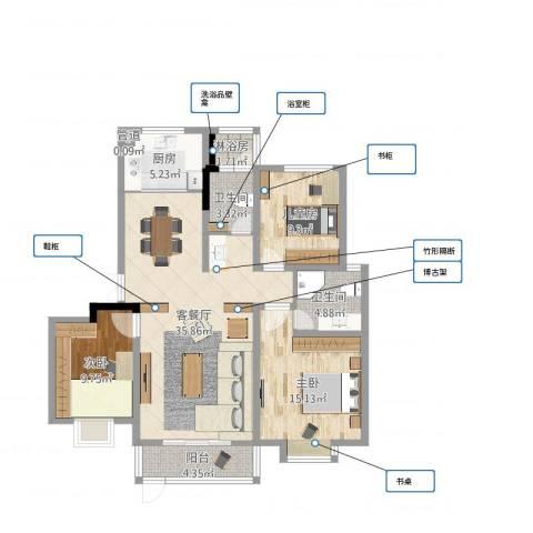 左岸国际3室2厅2卫1厨112.00㎡户型图
