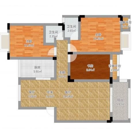 财茂香溢华府3室1厅4卫1厨111.00㎡户型图