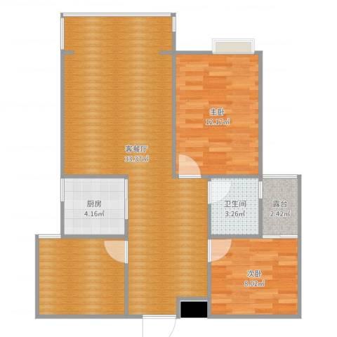 伴山御景2室2厅2卫1厨89.00㎡户型图