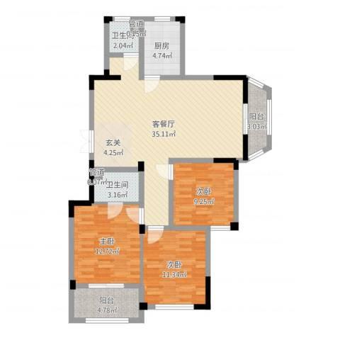 金美林花园3室2厅2卫1厨108.00㎡户型图