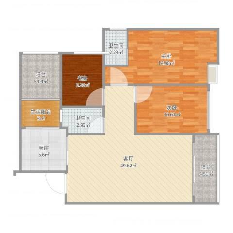 小蝶姐家3室1厅3卫1厨105.00㎡户型图