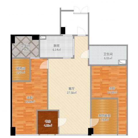 齐盛艺境3室1厅2卫1厨112.00㎡户型图