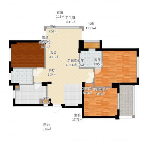 四季翠园3室2厅2卫1厨134.00㎡户型图