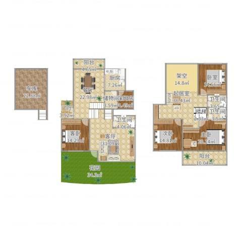 东城郡别墅3室2厅3卫1厨276.00㎡户型图