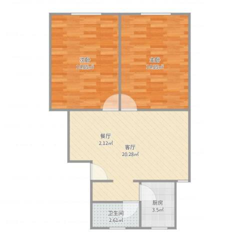 海阳一村2室1厅1卫1厨70.00㎡户型图