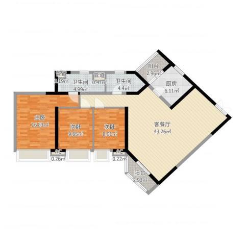 锦城花园3室2厅2卫1厨127.00㎡户型图