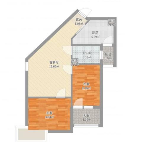 新希望乐城2室2厅1卫1厨65.00㎡户型图