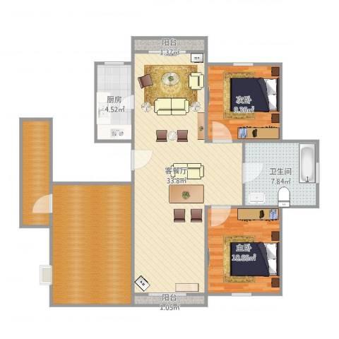 而风格GV分v2室2厅1卫1厨113.00㎡户型图