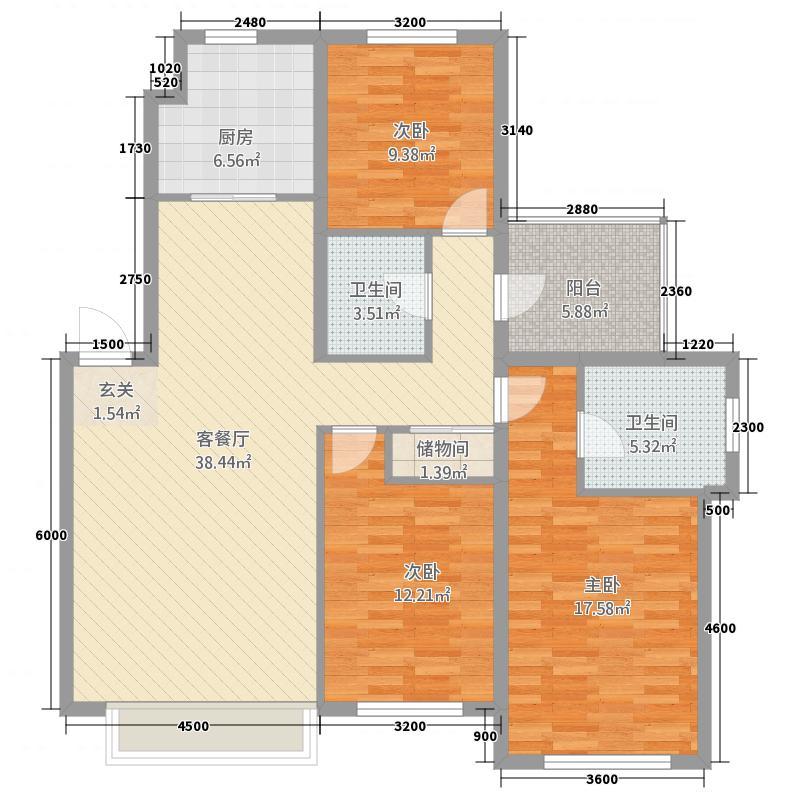红石郡432123.19㎡YB4户型3室2厅2卫1厨