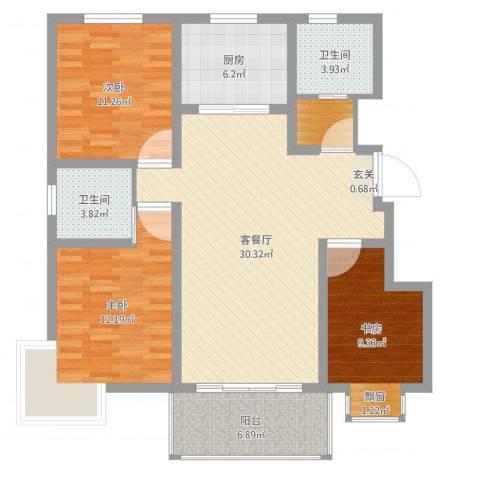 帝都・东城国际3室2厅2卫1厨107.00㎡户型图