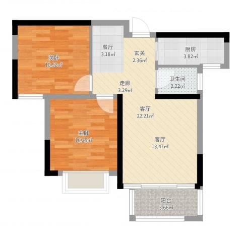 平安光谷春天2室1厅1卫1厨66.00㎡户型图