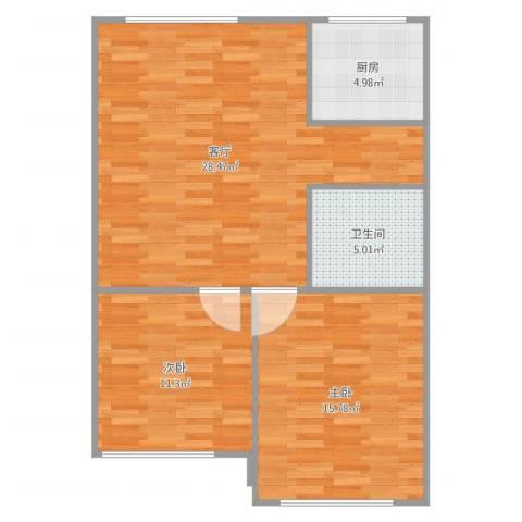 宝山三村2室1厅1卫1厨82.00㎡户型图