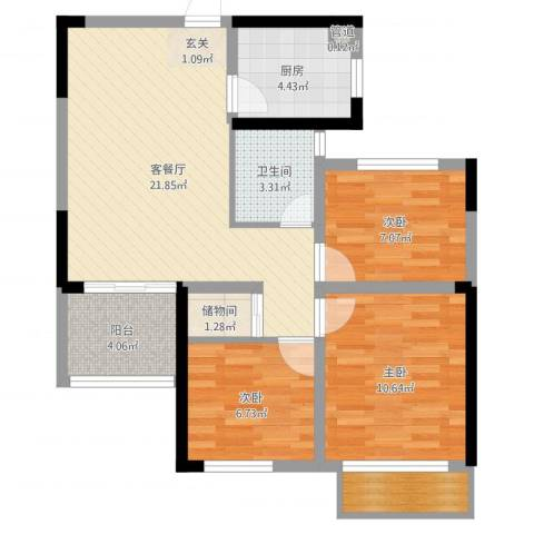 龙湖湘风原著3室2厅1卫1厨77.00㎡户型图